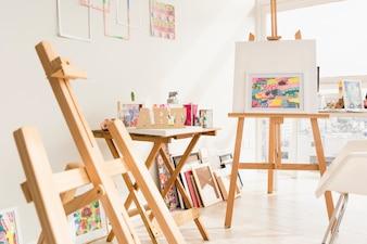 Modern art studio composition