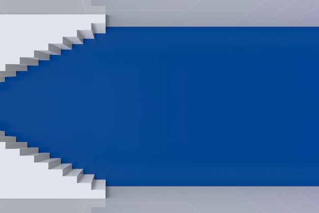 Modern art white staircase up and down on blue wall background.