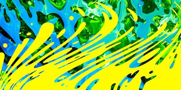 現代アート作品、明るいジューシーな色の背景。フローティングペイント技法。