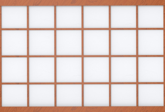 Modern asian style square wood frame on white paper wall background.