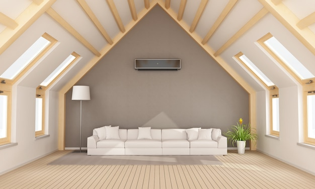 Modern attic with white sofa and air conditioner on wall