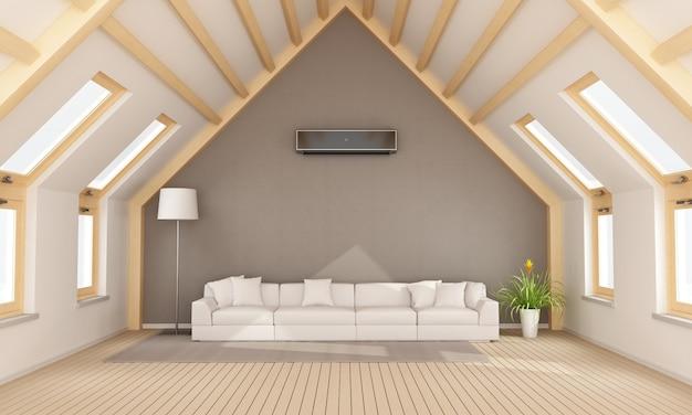壁に白いソファとエアコンを備えたモダンな屋根裏部屋