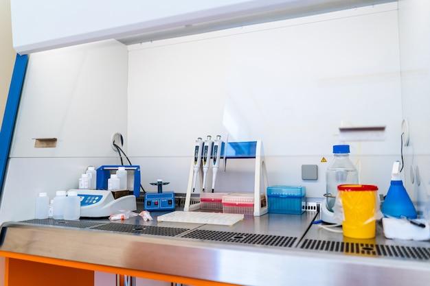 Modern automatic machine for centrifuge blood and urine testing. hematology laboratory. working place.