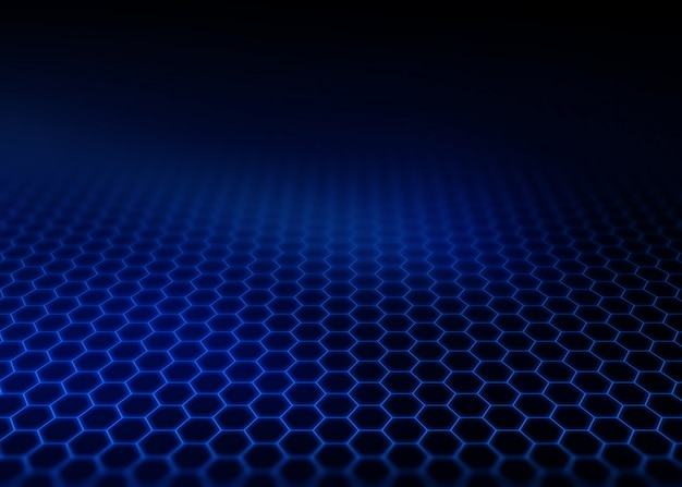 Modern background with hexagon grid fading into the distance