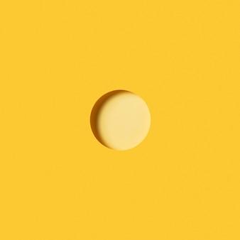 밝은 노란색 원형 종이 조각으로 현대 배경