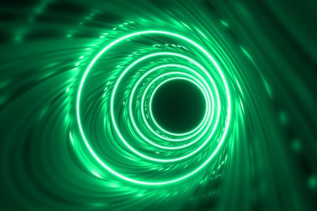 幻想的な暗いトンネルのネオン照明とモダンな背景