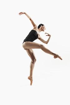 현대 발레 댄서 흰색 스튜디오 배경 발레리나에 전신에 고립 운동