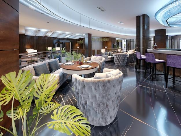 우아한 가구와 조명을 갖춘 고급스럽고 모던한 스타일의 모던 바 레스토랑. 3d 렌더링