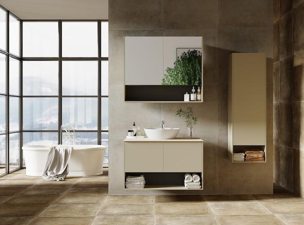 Modern bathroom design with bathroom furniture, 3d render