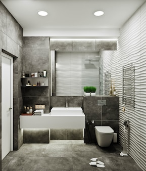 Modern bathroom design with tiles under concrete and wave tile