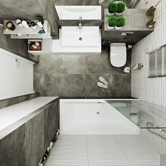 Modern bathroom design with tiles under concrete and wave tile