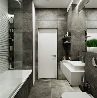 Modern bathroom design with tiles under concrete and wave