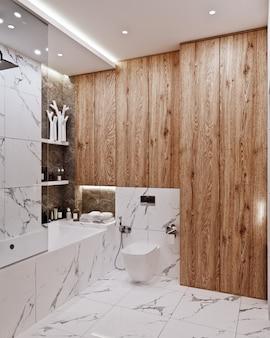 Современный дизайн ванной комнаты с плиткой из мрамора и дерева