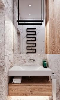 콘크리트와 대리석 아래에 타일이있는 현대적인 욕실 디자인
