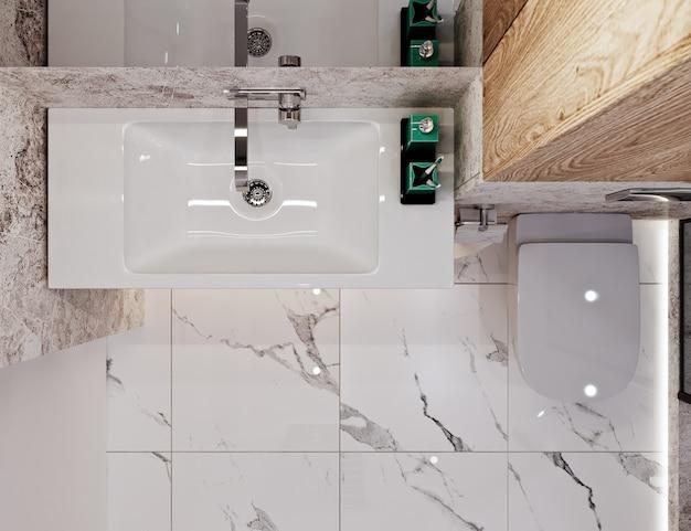 Современный дизайн ванной комнаты с плиткой под бетон и мрамор