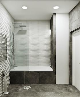Современный дизайн ванной комнаты с плиткой под бетон и волновой плиткой