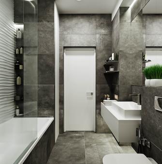 Современный дизайн ванной комнаты с плиткой под бетон и волнами