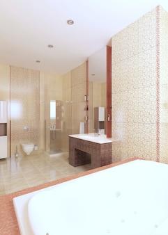 Современная ванная комната в желто-бордовом цвете с окном. 3d рендеринг