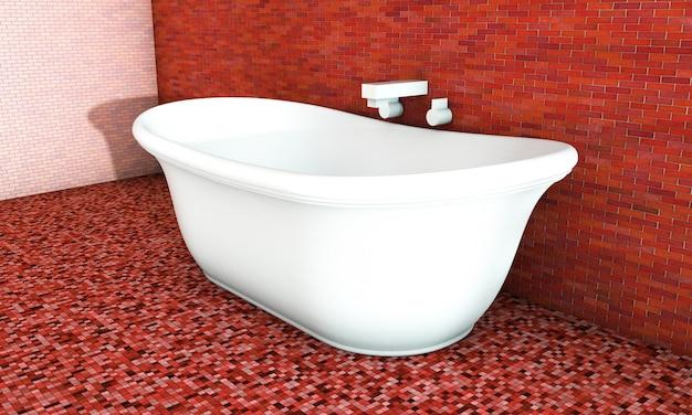 현대적인 욕실 인테리어입니다. 3d 렌더링입니다.