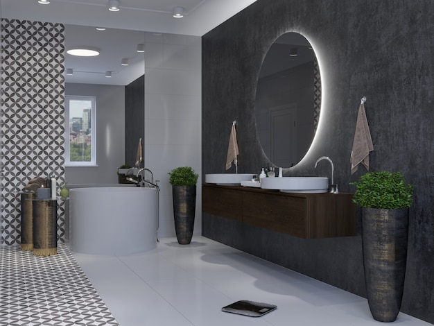 Современный интерьер ванной комнаты. 3d-рендеринг макета.