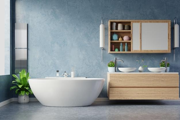 Modern bathroom interior design on dark blue wall.