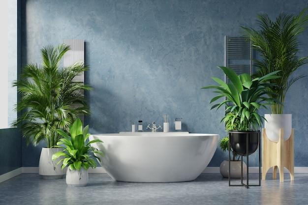 어두운 파란색 벽에 현대적인 욕실 인테리어 디자인입니다.