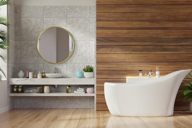 Современный дизайн интерьера ванной комнаты на деревянной стене.