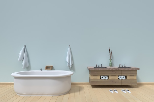 Modern bathroom interior on empty white wall background, 3d rendering