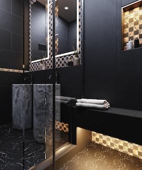 Современный интерьер ванной комнаты в темных тонах с клетчатой стеной из керамической плитки. 3d рендеринг