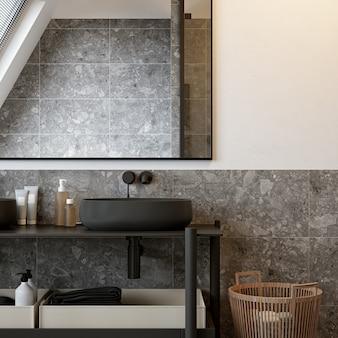 Современный интерьер ванной комнаты в стиле лофт. 3d-рендеринг.