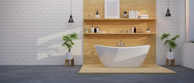 フローリングのバスタブ付きのモダンなバスルームインテリアバスアクセサリーと木製の棚の装飾3d