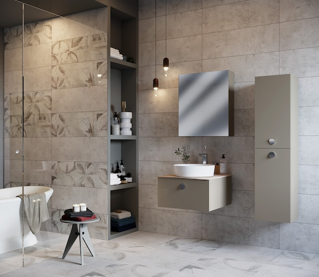 욕조, 캐비닛 및 거울, 3d 렌더링 현대적인 욕실 인테리어