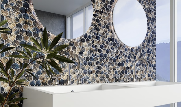 Modern bathroom interior with blue and gray hexagonal tiles on the wall. 3d rendering.