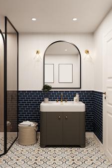 Интерьер современной ванной комнаты с голубыми плиточными стенами. 3d визуализация. классический стиль.