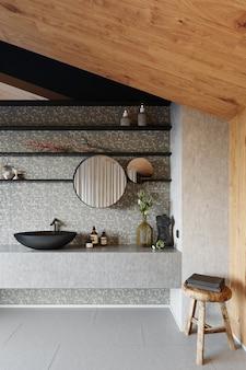 Современный интерьер ванной комнаты с серой керамической плиткой и черной раковиной. 3d визуализация