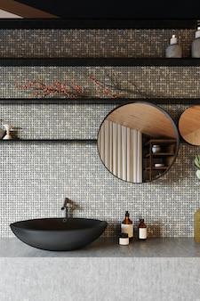 회색 세라믹 타일과 검은 색 세면대가있는 현대적인 욕실 인테리어. 3d 렌더링