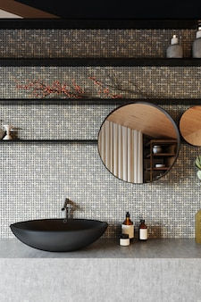 Modern bathroom interior with gray ceramic tiles and black washbasin. 3d render