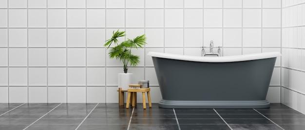 Современный интерьер ванной комнаты с роскошной ванной и комнатным растением над плиткой на стене и полу