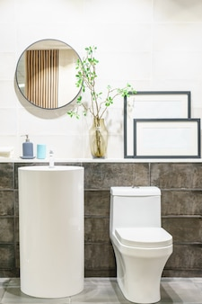 Modern bathroom interior with modern countertop basin, toilet and mirror