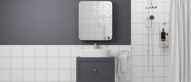 샤워 목욕 세면대 캐비닛 거울 수건 샴푸 병 현대적인 욕실 인테리어