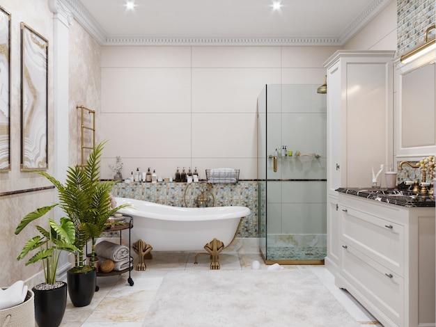 Современный интерьер ванной комнаты с плиточными стенами и полом