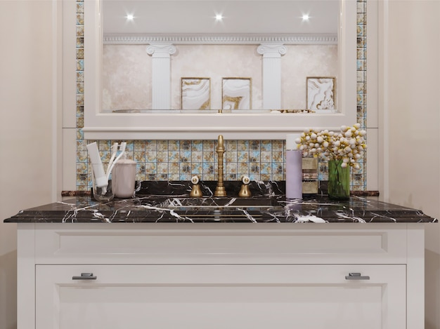 Интерьер современной ванной комнаты с плиточными стенами