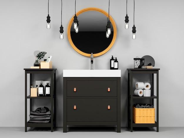 Современный интерьер ванной комнаты с деревянным декором в эко стиле