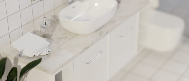 Modern bathroom mockup space for montage on marble countertop with ceramic vessel sink 3d rendering