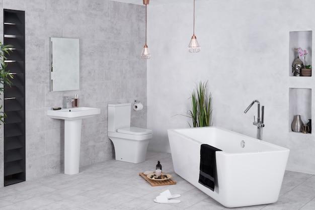 Современная ванная комната с туалетом и ванной.