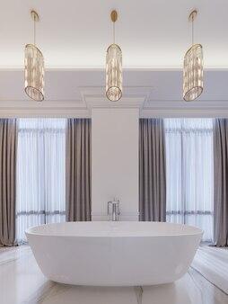 Современная ванная комната с окном, подвесная люстра, шторы, санузел. 3d-рендеринг.