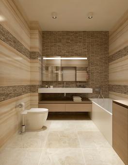Современная ванная комната с ванной и туалетом и мраморной плиткой на стенах.