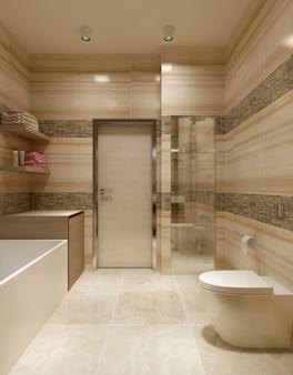 Современная ванная комната с ванной и туалетом и кафелем с мрамором на стенах.
