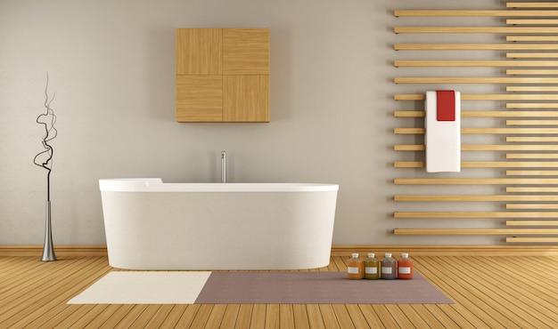 バスタブと木製の装飾が施されたモダンなバスルーム