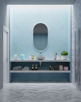 Modern bathroom with blue wall